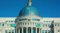 View of Ak-Orda Presidential palace in Astana. Stock Footage