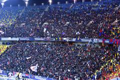 Stadium full with crowd of soccer fans. National Arena, Bucharest Stock Photos