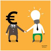 Business man brainstorming - stock illustration