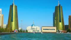 View of golden towers of Ministry House in Astana. Stock Footage