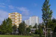 Prefab building a kindergarten in hradec kralove Stock Photos