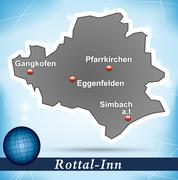 map of rottal inn with abstract background in blue - stock illustration