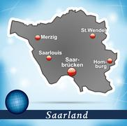 map of saarland with abstract background in blue - stock illustration