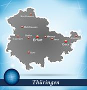 Stock Illustration of map of thuringia with abstract background in blue