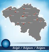 Stock Illustration of map of belgium with abstract background in blue