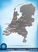 map of netherlands with abstract background in blue - stock illustration