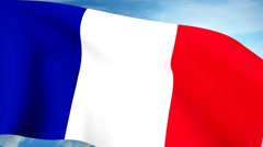 French Flag Closeup Waving Against Blue Sky Seamless Loop CG Stock Footage