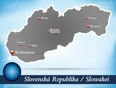 map of slovakia with abstract background in blue - stock illustration