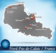 Stock Illustration of map of north-pas-de-calais with abstract background in blue