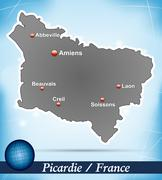 Stock Illustration of map of picardie with abstract background in blue
