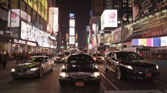 Black Car in Times Square NYC at Night in Slow Motion in 4K Stock Footage