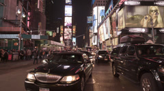 Black Car in Times Square New York City at Night in Slow Motion in 4K Stock Footage
