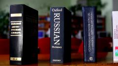 Dictionary English-Russian. Slow slide (from left to right, from right to left) Stock Footage