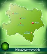 Map of lower austria with abstract background in green Stock Illustration