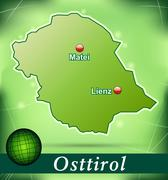 Stock Illustration of map of east tyrol with abstract background in green