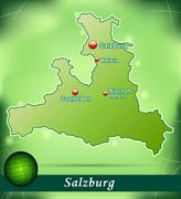 map of salzburg with abstract background in green - stock illustration