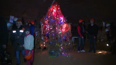 New year tree in the underground cave. Stock Footage