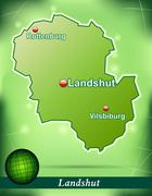 Map of landshut with abstract background in green Stock Illustration