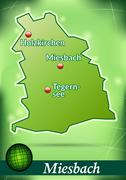 Stock Illustration of map of miesenbach with abstract background in green