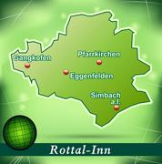 Stock Illustration of map of rottal inn with abstract background in green