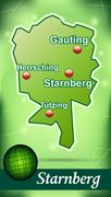 map of starnberg with abstract background in green - stock illustration