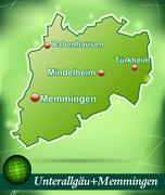 Stock Illustration of map of unterallgaeu memmingen with abstract background in green