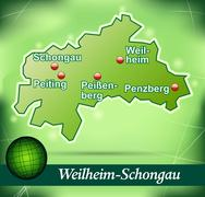 map of weilheim schongau with abstract background in green - stock illustration