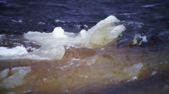 River flow with floating ice, Petrozavodsk Stock Footage