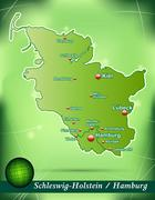 Stock Illustration of map of schleswig-holstein with abstract background in green
