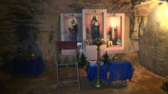 The Orthodox temple, the Church in the underground cave. Stock Footage
