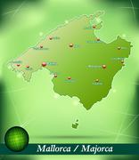 Stock Illustration of map of mallorca with abstract background in green