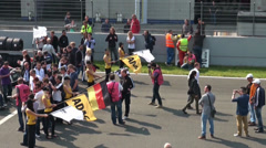 Stock Video Footage of Public viewing before the start of GT Masters race
