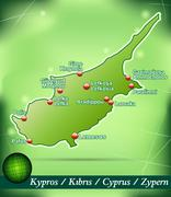 map of cyprus with abstract background in green - stock illustration