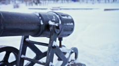 Cast-iron cannon at Onega lake quay, slider Stock Footage