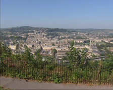 View over Bath city center from Alexandra Park + zoom in Bath Abbey Stock Footage