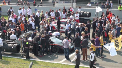 Technical crews and public viewing at GT Masters race Stock Footage