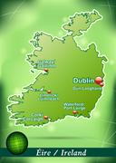 Map of ireland with abstract background in green Stock Illustration