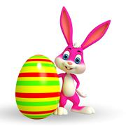 Cute easter bunny with colorful eggs - stock illustration