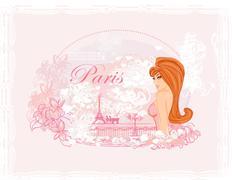 Beautiful women shopping in paris card Stock Illustration