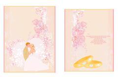 Elegant wedding invitation set with rings and wedding couple Stock Illustration