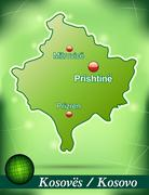 Stock Illustration of map of kosovo with abstract background in green