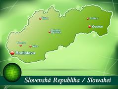 map of slovakia with abstract background in green - stock illustration