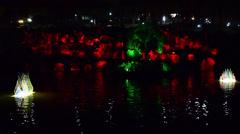 Artificial lake, artificial, illuminated glass tulips, night , Emirgan, Istanbul Stock Footage