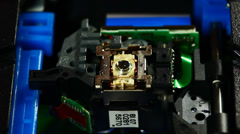Cd-rom drive laser head finding disk Stock Footage