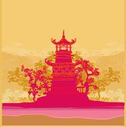 old paper with japanese temple on abstract asian landscape - stock illustration