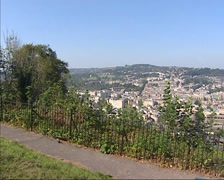 Skyline Bath city center from Alexandra Park + zoom in  Royal Crescent Stock Footage