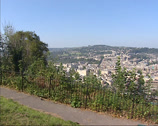Stock Video Footage of Skyline Bath city center from Alexandra Park + zoom in  Royal Crescent