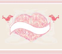 Valentines day greeting card with 2 sweet love birds Stock Illustration