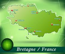 map of brittany with abstract background in green - stock illustration