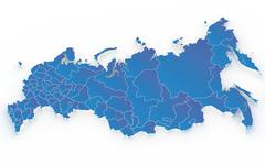 Map of Russia with regions isolated on white - stock illustration